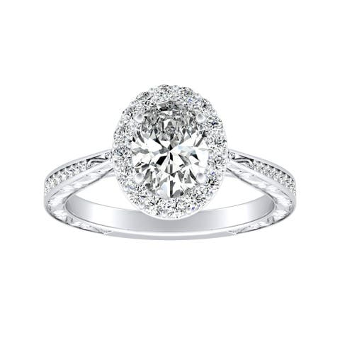 Auriya Platinum 1 1/6ctw Vintage Oval-cut Halo Diamond Engagement Ring