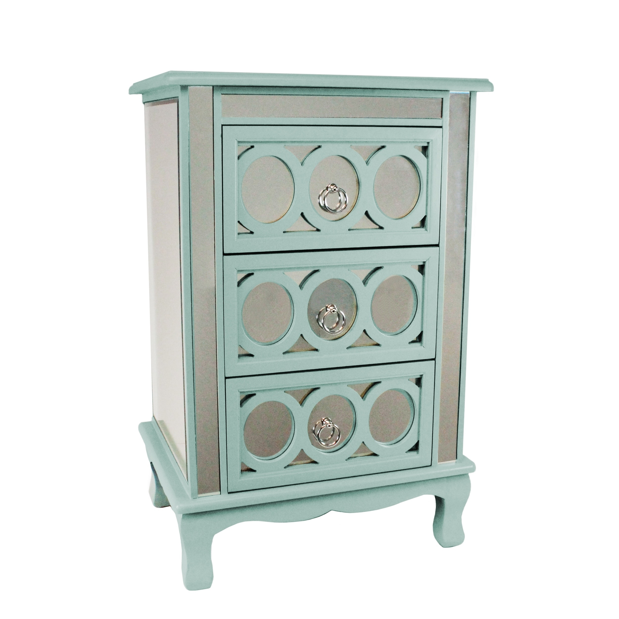 Urban Designs Gilmour Blue Wood Glass 3 Drawer Mirrored Nightstand Table