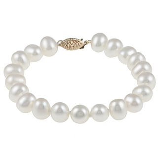 DaVonna 14k Yellow Gold 7-8mm White Freshwater Pearl Bracelet, 7""