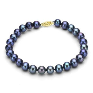 DaVonna 14k Gold Black Cultured FW Pearl Bracelet (7.5-8mm)