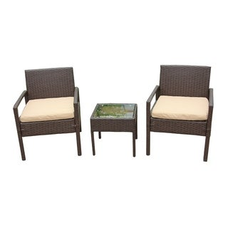 ALEKO Outdoor Rattan Patio Furniture 3 piece Set Brown with Cushions