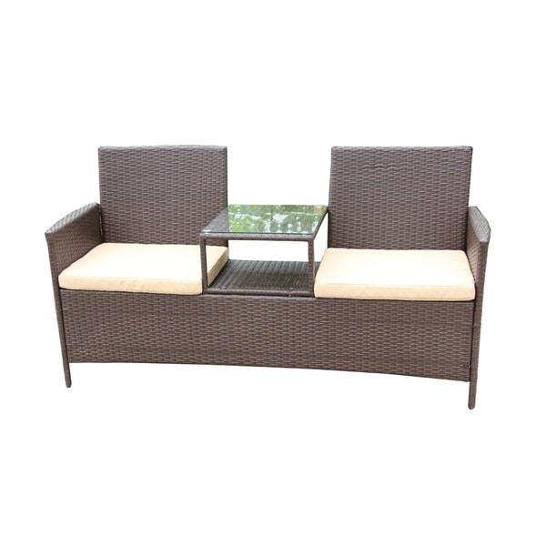 Shop Aleko Outdoor Rattan Wicker Dual Seated Brown Sofa