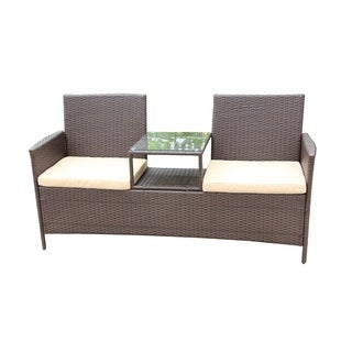 ALEKO Outdoor Rattan Wicker Dual-Seated Brown Sofa with Coffee Table