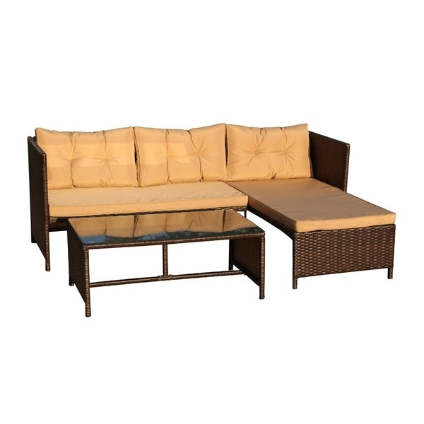 Outdoor Wicker Sectional Sofa For Sale: Shop ALEKO Outdoor Rattan Wicker 3-Piece Sectional