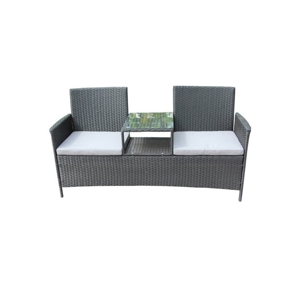 Black Wicker Coffee Table: Shop ALEKO Outdoor Rattan Wicker Dual-Seated Black Sofa