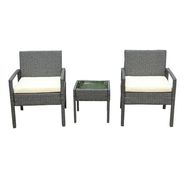 Shop Aleko Outdoor Rattan Patio Furniture 3 Piece Set Grey