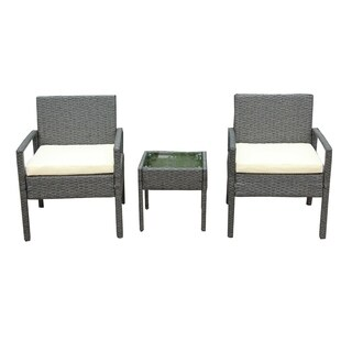 ALEKO Outdoor Rattan Patio Furniture 3 piece Set Grey with Cushions