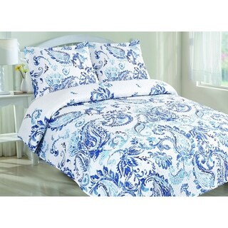 Kelly Classic Blue Paisley Printed Quilt Set