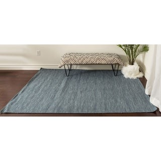 Solid Wool Flat Weave Area Rug Carpet
