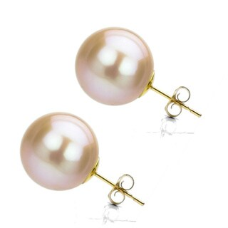 DaVonna 14k Gold Pink Perfect Round Akoya Pearl Stud Earrings (6-6.5 mm )