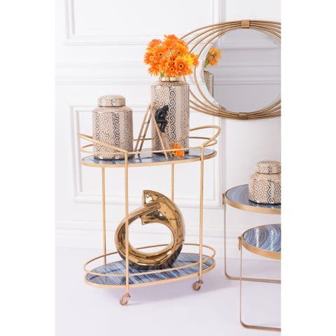 The Curated Nomad Clark Blue and Antique Gold Steel and Glass Wheeled Bar Cart