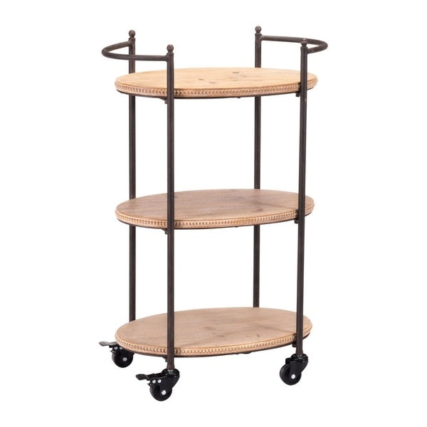 Copper Grove Coreopsis Brown Steel and Wood 3-tier Bar Cart