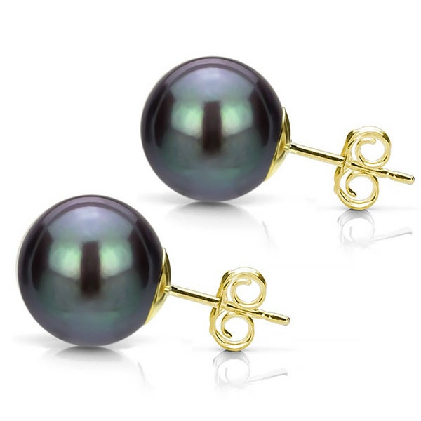 DaVonna 14k Gold Black Perfect Round Akoya Pearl Stud Earrings (8-8.5 mm )