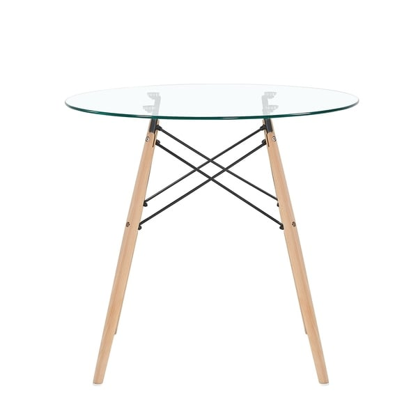 Mcombo Dining Table Round Clear Glass Table Modern Style Table For Kitchen  Dining Room Coffee Table