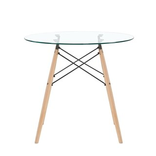 Mcombo Dining Table Round Clear Glass Table Modern Style Table for Kitchen Dining Room Coffee Table with Wood Legs