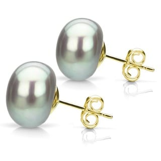 DaVonna 14k Yellow Gold Grey FW Pearl Stud Earrings (9-10 mm)