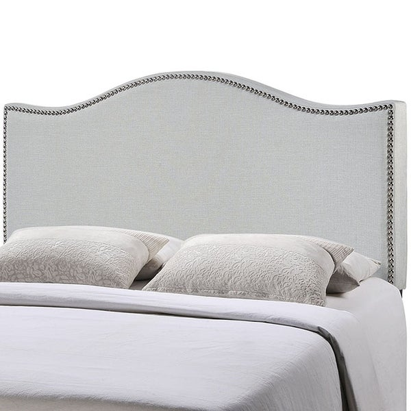 shop bayton king size grey fabric headboard with nailhead trim on sale free shipping today. Black Bedroom Furniture Sets. Home Design Ideas
