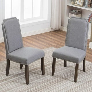 Merax Stylish Upholstered Fabric Dining Chairs with Nailhead Detail and Solid Rubber Wood Legs (Set of 2 )