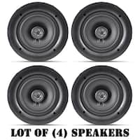 "Lot of 4 / 5.25"" In-Wall / In-Ceiling Dual Stereo Speakers, 150 Watt, 2-Way, Flush Mount,"