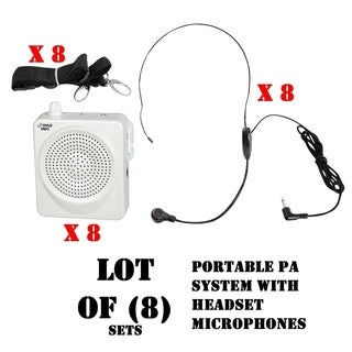 (8) PylePro PWMA50W Portable Pa System With Headset Microphone with Built In Rechargeable Batteries