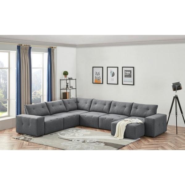Shop Divani Casa Campton Contemporary Grey Tufted Fabric Modular ...