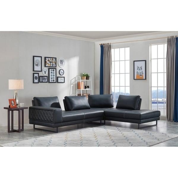 Divani Casa Signal Classic Transitional Dark Blue Leather Sectional Sofa w/ Adjustable Backrests