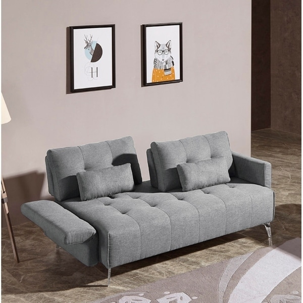 Shop Divani Casa Alcoa Modern Contemporary Grey Tufted Fabric Sofa w ...