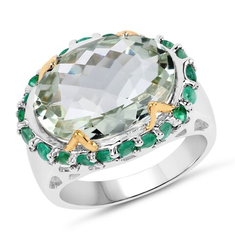 Two Tone Plated 8.86 Carat Genuine Green Amethyst and Emerald .925 Sterling Silver Ring - Size 7