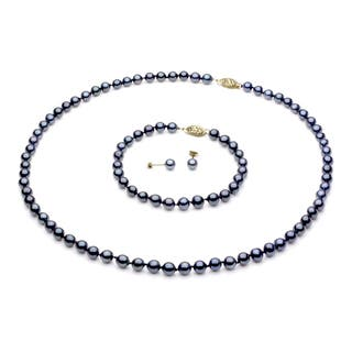 DaVonna 14k Yellow Gold 6-7mm Black Freshwater Pearl Necklace Bracelet and Earring Set|https://ak1.ostkcdn.com/images/products/2283480/2283480/DaVonna-14k-Gold-Black-FW-Pearl-Necklace-Bracelet-and-Earring-Set-6-6.5-mm-P10534628.jpg?impolicy=medium