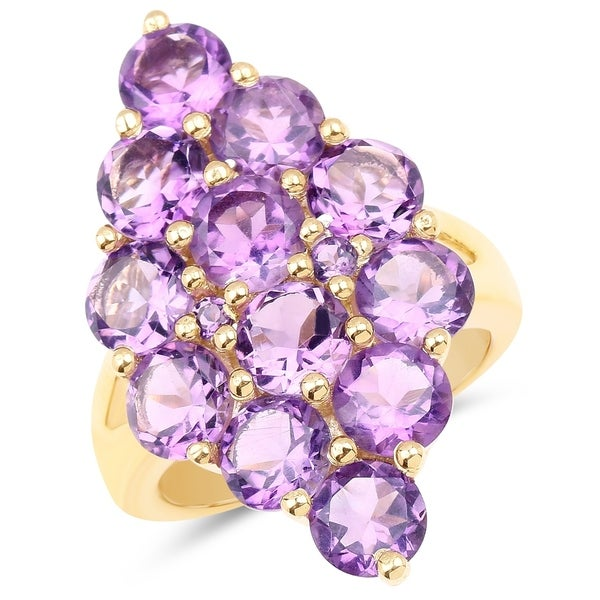 Shop 14K Yellow Gold Plated 6 78 Carat Genuine Amethyst  925