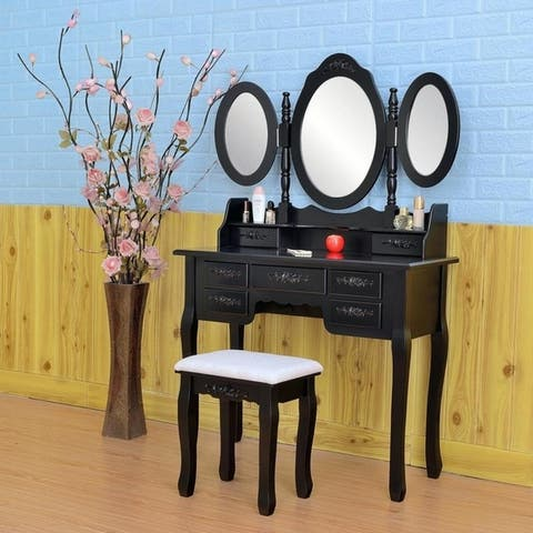 "57"" Home Accents 3 Mirrors Wood Vanity Table and Stool Set"