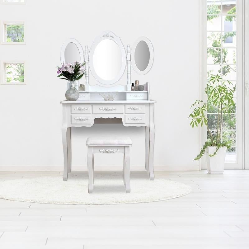 57 Home Accents 3 Mirrors Wood Vanity Table And Stool Set On Sale Overstock 22835445