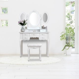"Link to 57"" Home Accents 3 Mirrors Wood Vanity Table and Stool Set Similar Items in Bedroom Furniture"