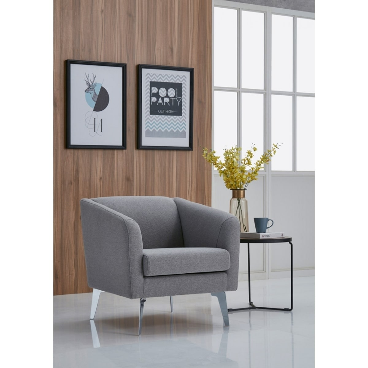 Stupendous Divani Casa Preston Contemporary Grey Fabric Lounge Chair Machost Co Dining Chair Design Ideas Machostcouk