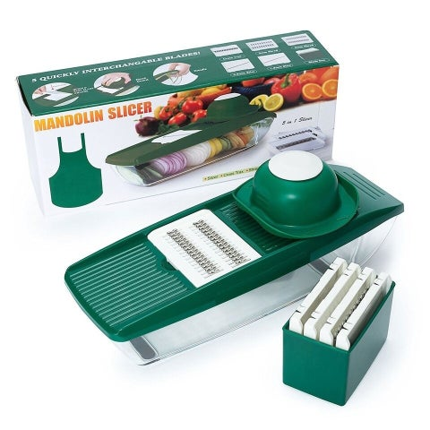 Draizee Mandoline, Veggie Slicer, Vegetable Cutter with Storage Container Includes 5 Interchangeable Cutterts