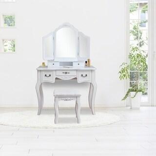 3 Mirrors Dresser Wood Vanity Table and Dressing Stool Set