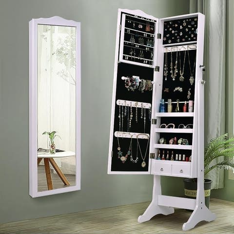 63 inch  Lockable Wall Mounted Mirrored Jewelry Armoire Cabinet W/ Stand