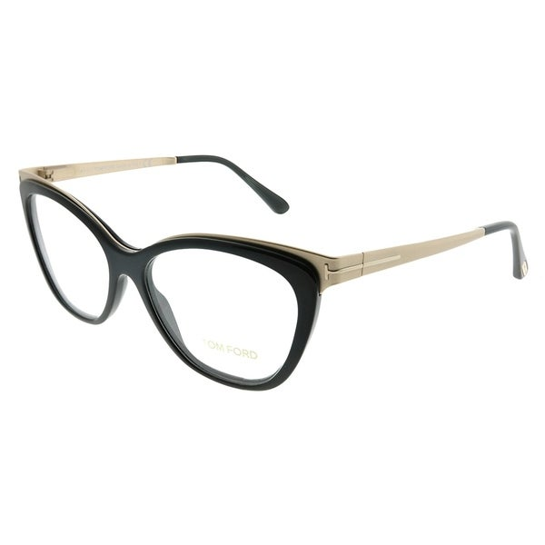 4a476536dbbb Tom Ford Cat-Eye FT 5374 001 Women Shiny Black Gold Frame Eyeglasses