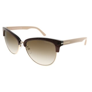 Tom Ford Cat-Eye TF 368 Fany 50G Women Brown Striated Frame Brown Mirror Gradient Lens Sunglasses
