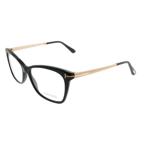 0269f1a924 Tom Ford Rectangle FT 5353 001 Unisex Shiny Black Gold Frame Eyeglasses