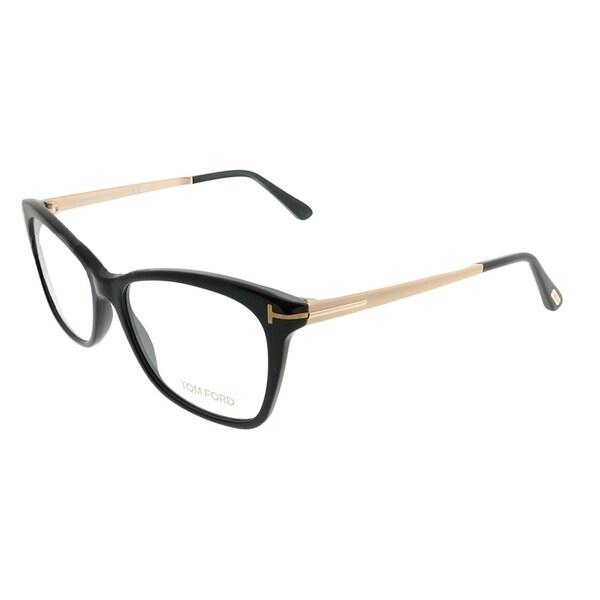 e63cc0dc9489 Tom Ford Rectangle FT 5353 001 Unisex Shiny Black Gold Frame Eyeglasses