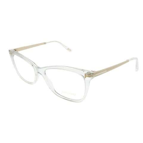 Tom Ford Rectangle FT 5353 026 Unisex Crystal Gold Frame Eyeglasses