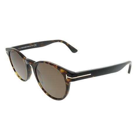 bb1ba609ff821 Tom Ford Round TF 522 Palmer 52E Unisex Dark Havana Frame Brown Lens  Sunglasses