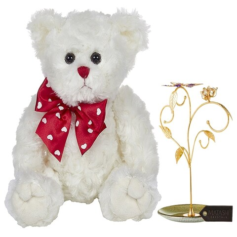 "11"" Plush Stuffed Animal Teddy Bear, White with Elegant Floral And Butterfly Design Home Jewelry Display by Matashi"