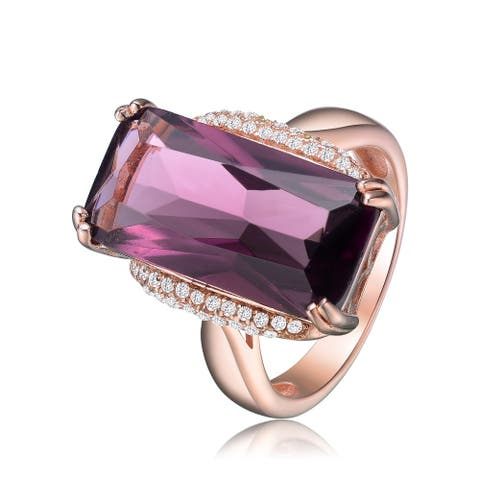 Collette Z Sterling Silver with Rose Gold Plated Purple Radiant Cubic Zirconia with Clear Round Cubic Zirconias Cocktail Ring