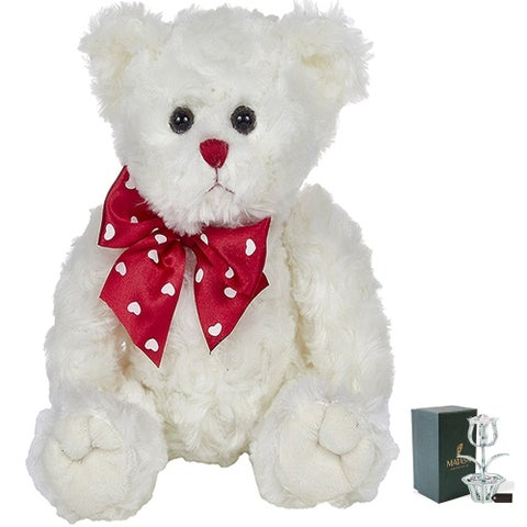 "11"" Plush Stuffed Animal Teddy Bear, White with Chrome Plated Tulip Flower Table Top Ornament with Pink Matashi Crystals"