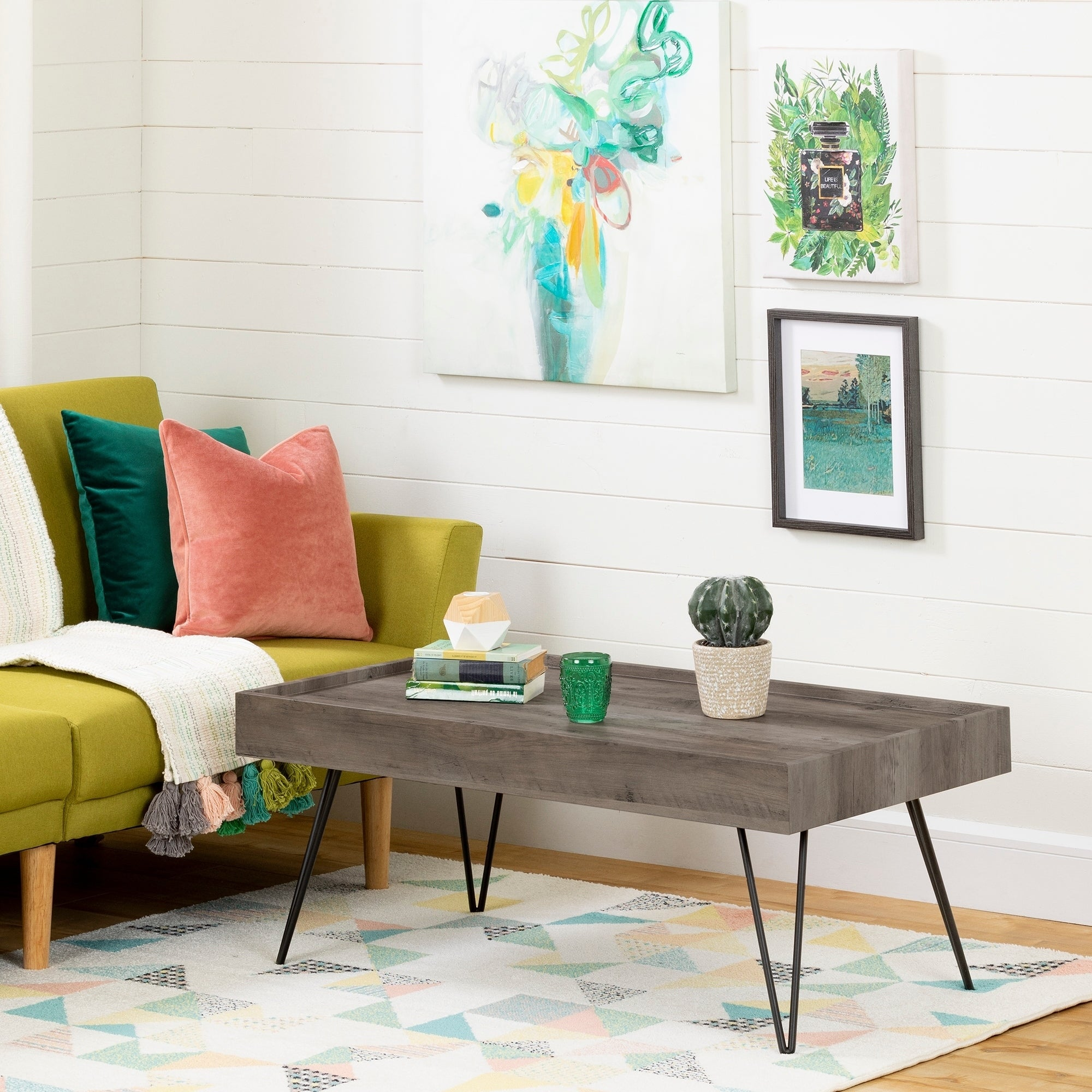 South Shore Slendel Coffee Table With Hairpin Legs
