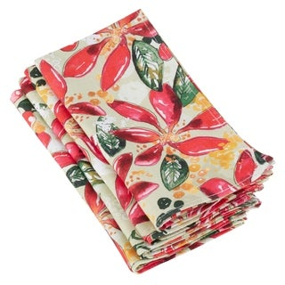 Linen Table Napkins With Wild Poinsettia Print (Set of 4)