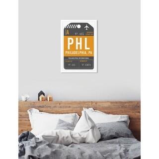 Oliver Gal 'Philadelphia Luggage Tag'Framed Art - YELLOW