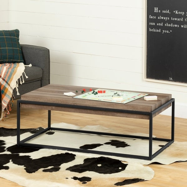 Modern Wood Finish Coffee Table: Shop South Shore Mezzy Modern Industrial Wood Finish